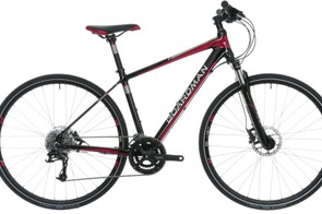 The Boardman MX Comp women's specific hybrid bicycle comes with a 63mm-travel Suntour fork and Avid hydraulic disc brakes