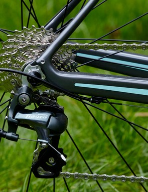 The Road Team Carbon features Shimano Tiagra 2x10 gearing