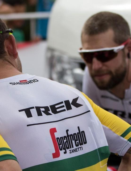 Both new to the Trek-Segafredo team, Jack Bobridge and Ryder Hesjedal chat prior to the start of the 2016 Santos Tour Down Under