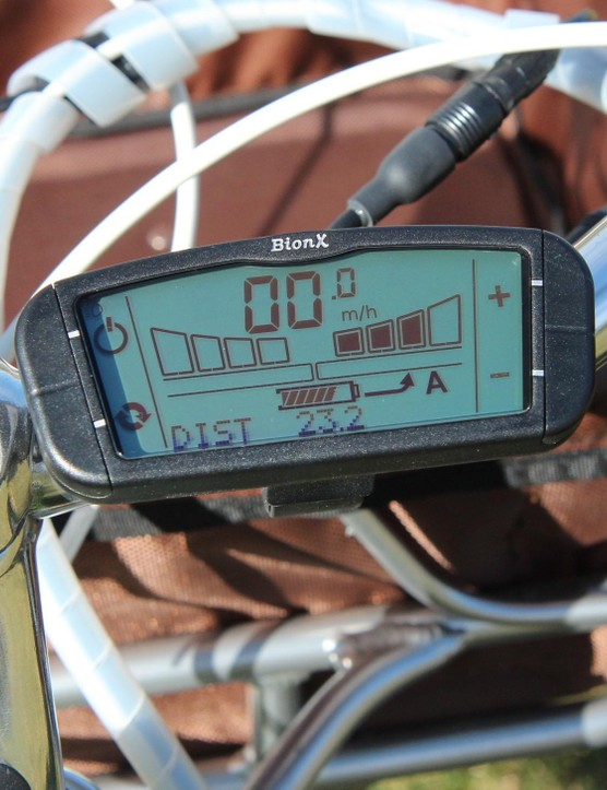 This BionX system can not only add varying levels of assitance (shown in black at right), but can also be set so your pedal power recharges the battery (in which case some of the bars at left would be black)