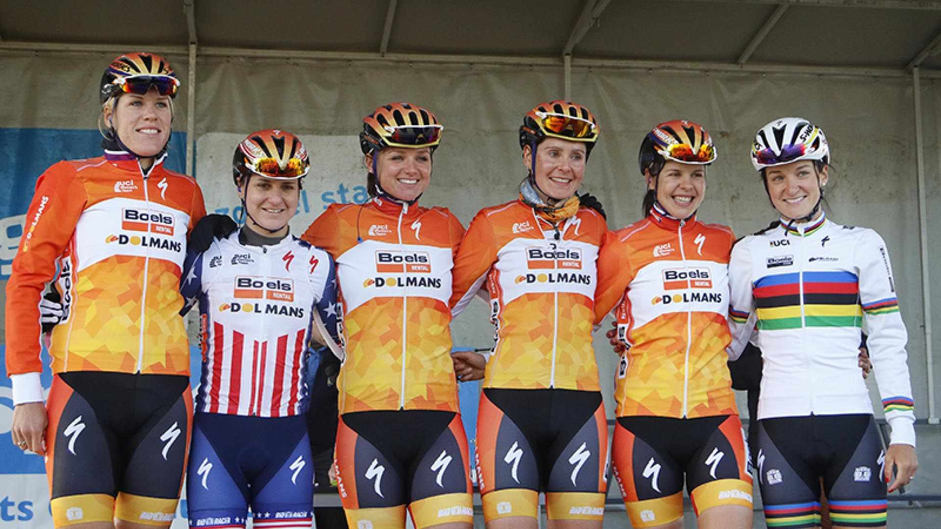 Nikki Harris, third from the right, pictured alongside her Boels-Dolmans teammates, which include Lizzie Armitstead, far right