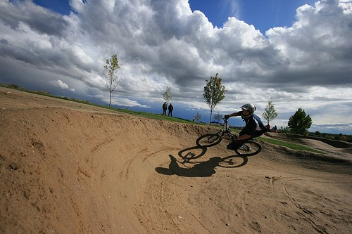 Tearing it up at the Boise Bike Park in Idaho.