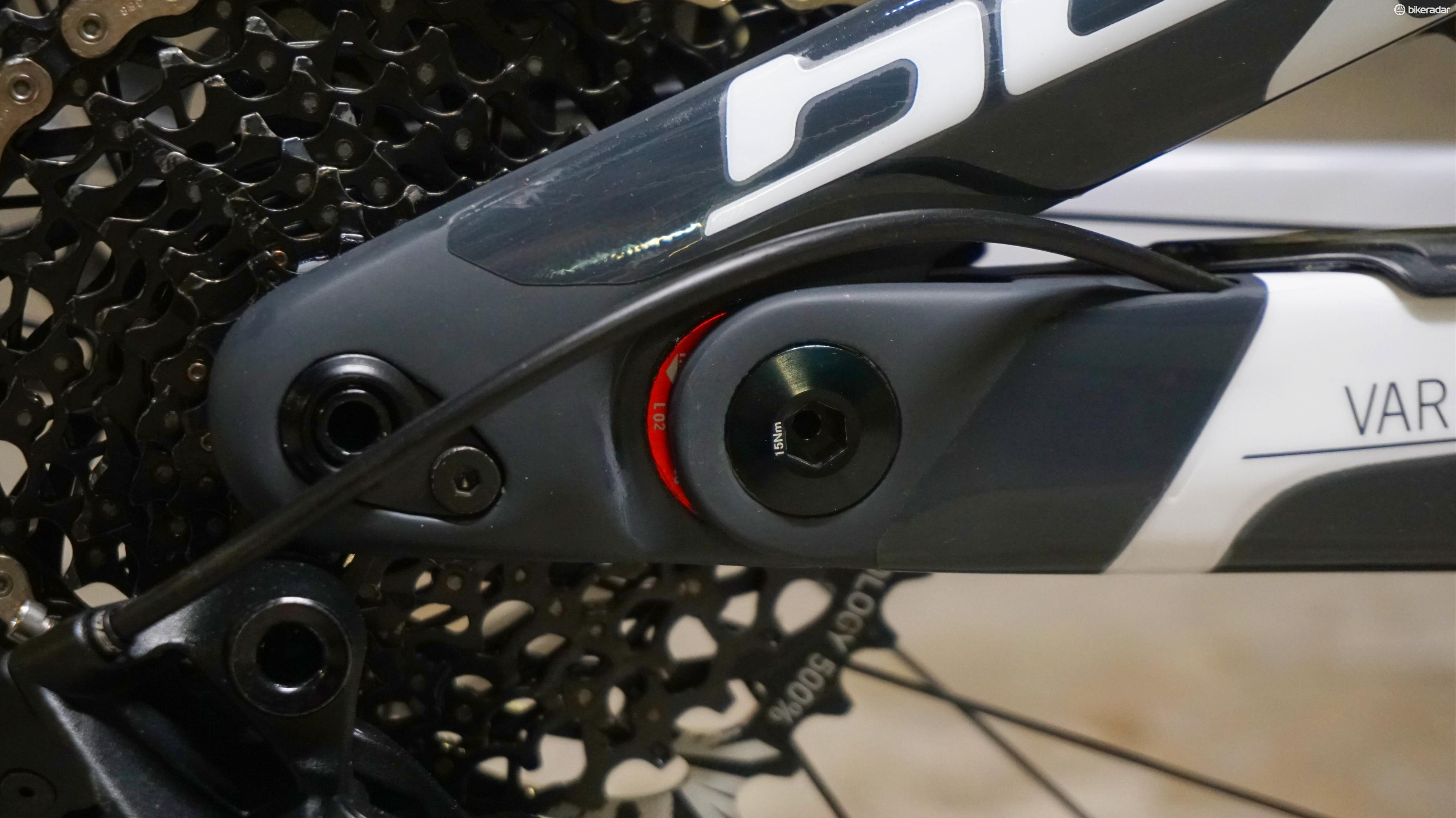 ... the geometry can be tweaked with reversable flip chips in the chainstay pivot and headset