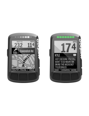 The Elemnt Bolt lets you keep key metrics in view while using navigation or looking at texts. LED alerts can be set for upcoming turns (and direction of the turns), among other things