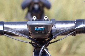 Wahoo designed the computer to be mounted with a slight tilt upwards to face the rider and still have good aerodynamics
