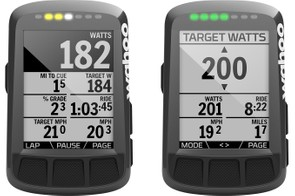 The LEDs can be programmed for various alerts, such as Best Bike Split (left), target power (right) and more