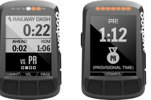 Strava Live Segments cue off of Segments you star on Strava. While riding, you can toggle between your best time, that of a friend, or the KOM/QOM