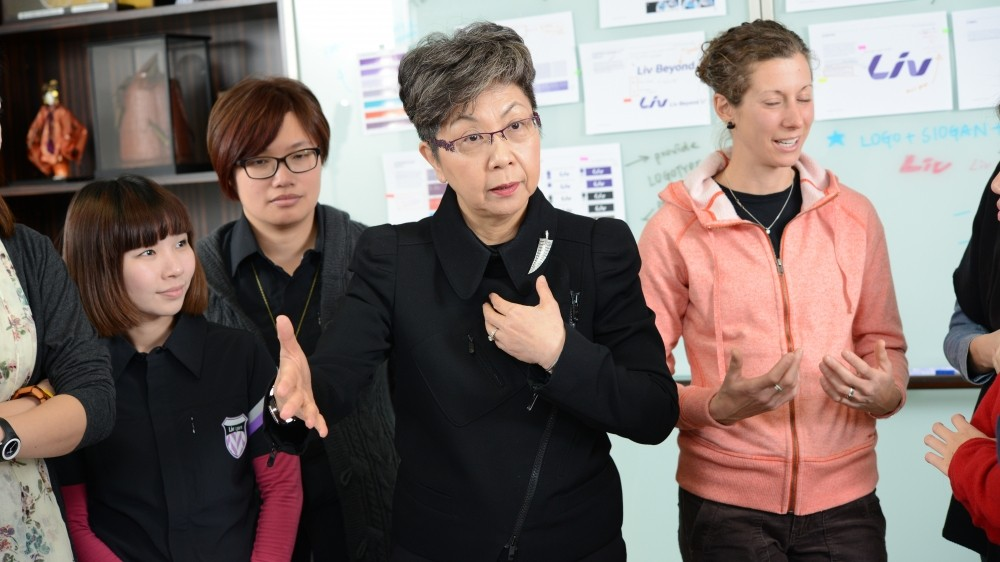 Bonnie Tu, centre, and just a few members of the global Liv Team