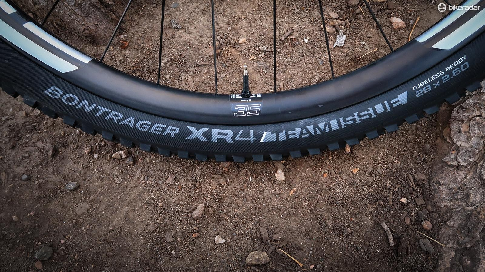 Mounted to these new Enve wheels are a pair of Bontrager's new 29x2.6in Team Issue XR4 tires