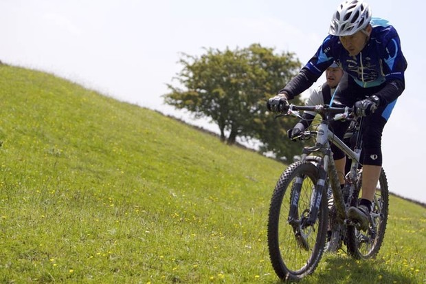 Keith Bontrager rides the course