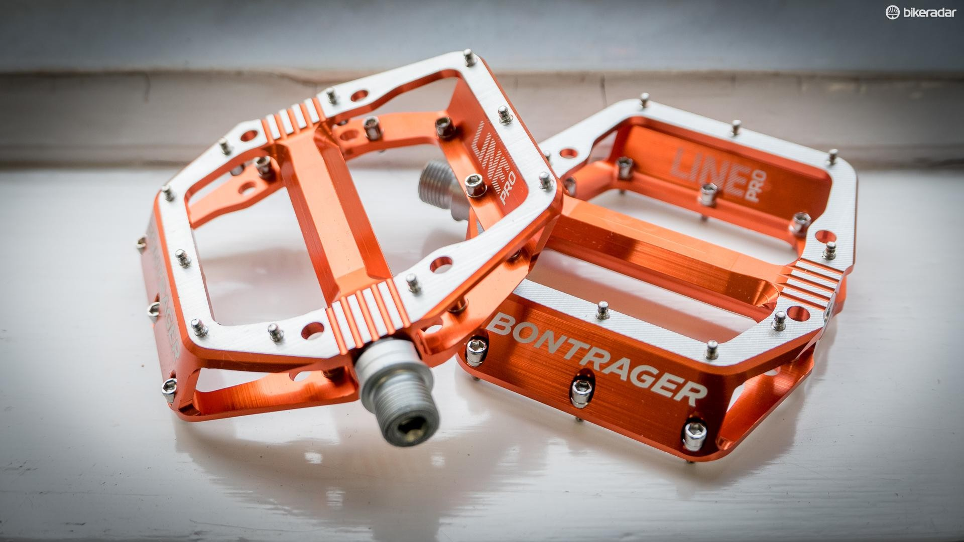 Bontrager's Line Pro pedals feature height-adjustable pins to allow you to finetune your fit and grip