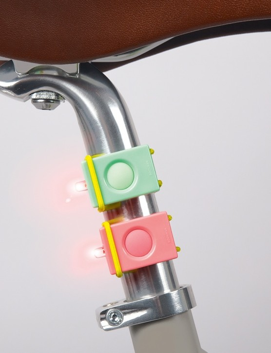 Bookman Lights easily mount to seatposts and handelbars