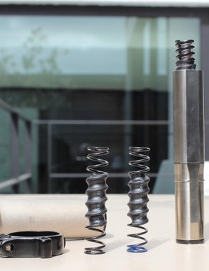 The Future Shock suspension cartridge sits atop the head tube, and the springs can be changed to tune the ride