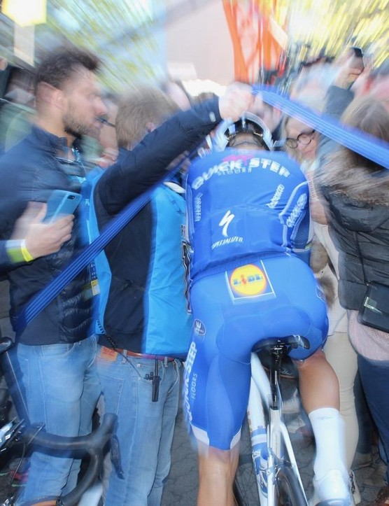 Boonen rolls off to the start of his final Tour of Flanders