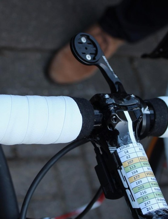 Tape nearly to the stem for Tom, who prefers to race without gloves
