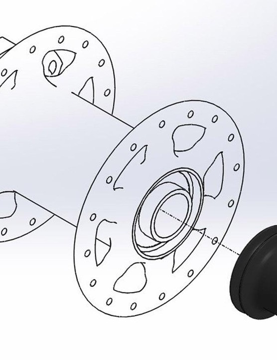 The front hub kit consists of a longer axle end cap