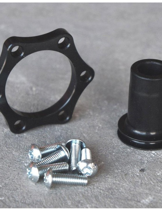 The rear hub kit consist on a rotor spacer, longer end cap and longer rotor bolts