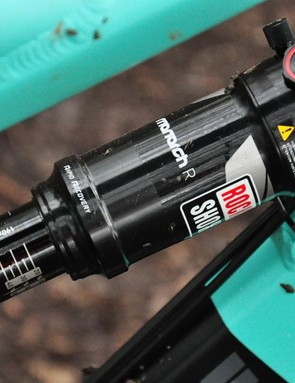 A RockShox Monarch R fork controls 130mm of rear travel