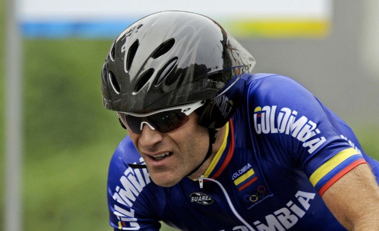 Santiago Botero of Colombia rips throug the men's Olympic time trial.