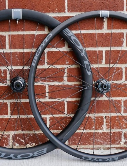 Boyd Cycling's 28mm front and 44mm rear, carbon, tubeless-ready disc wheelset