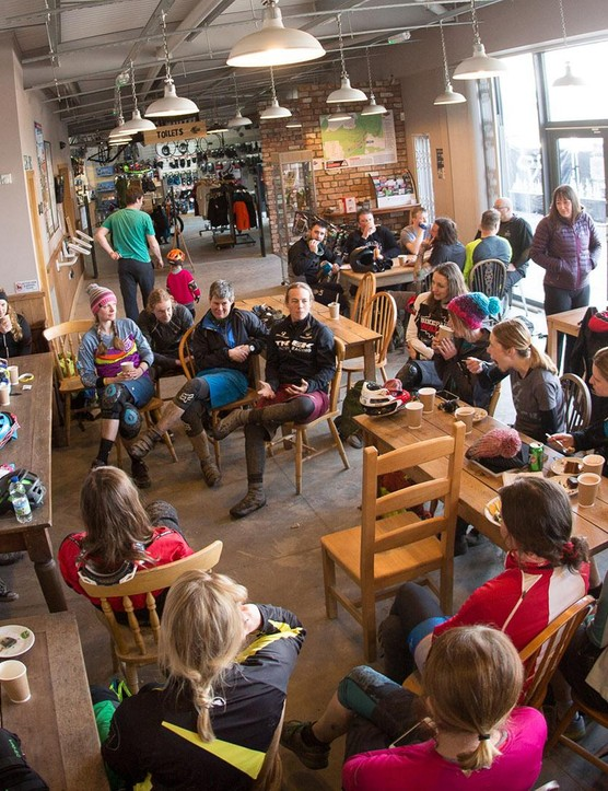 A Q&A session with enduro world champ Moseley proved popular, and was accompanied by tea and cake