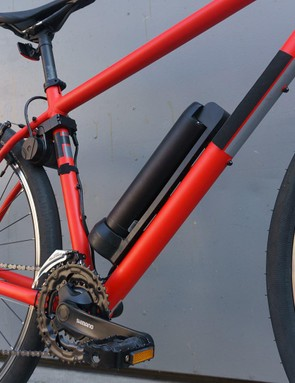 The Revos provides assistance via a powered roller that directly drives the bike's rear wheel
