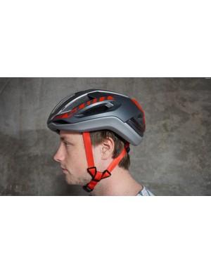 The Scott Centric Plus helmet, resplendent in grey and red