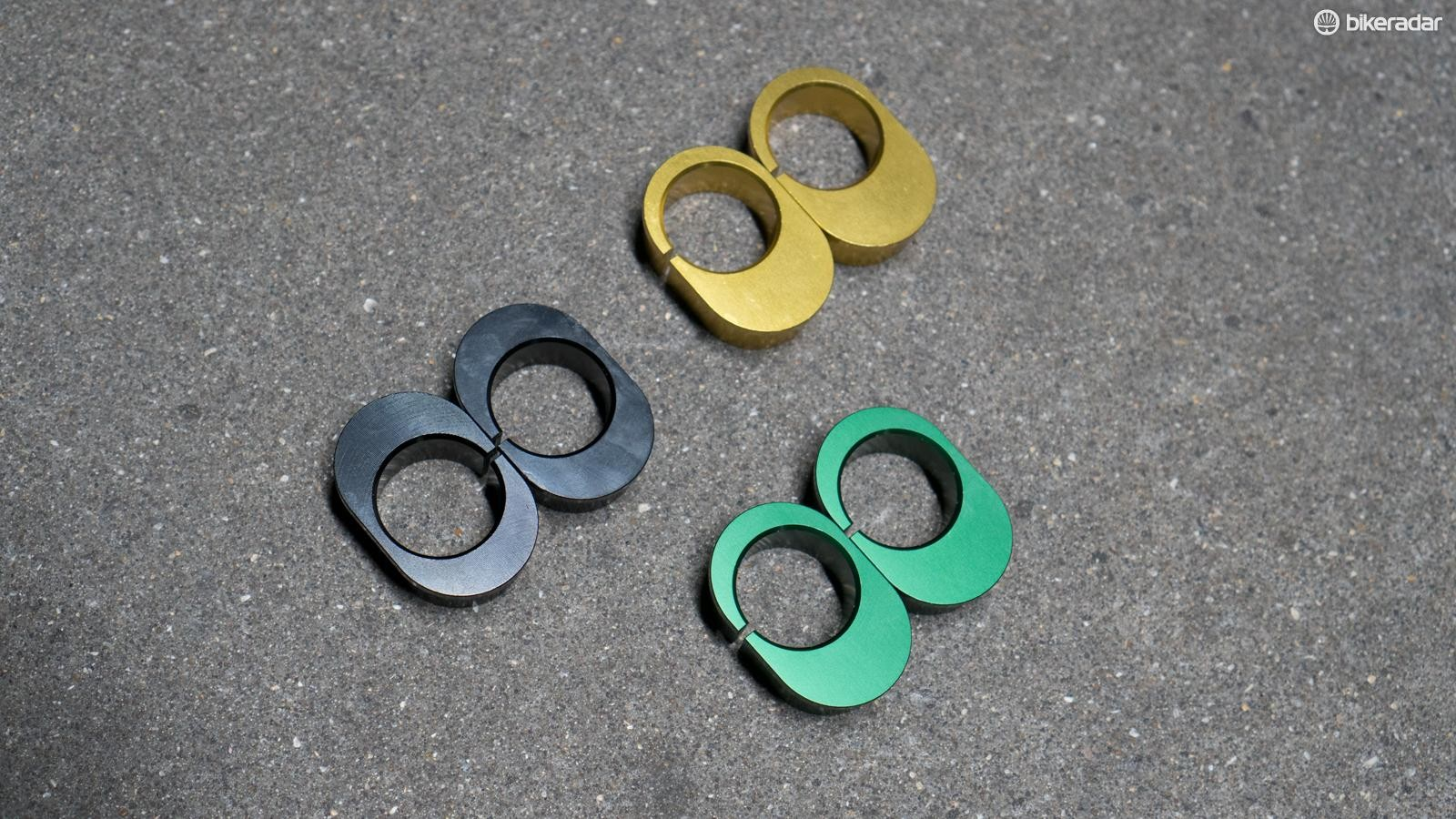 The kit includes two machined crowns, a steerer tube and four sets of inserts