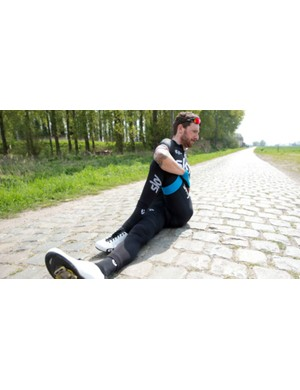 Stretching out is an essential part of the post-ride process for multi day events, as Sir Bradley Wiggins demonstrates