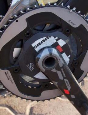 Wiggins uses an SRM powermeter which features older SRAM Red graphics, not the new and clean eTap ones