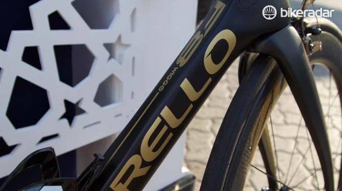 Wiggin's bike is full of gold accents in honour of his Olympic titles
