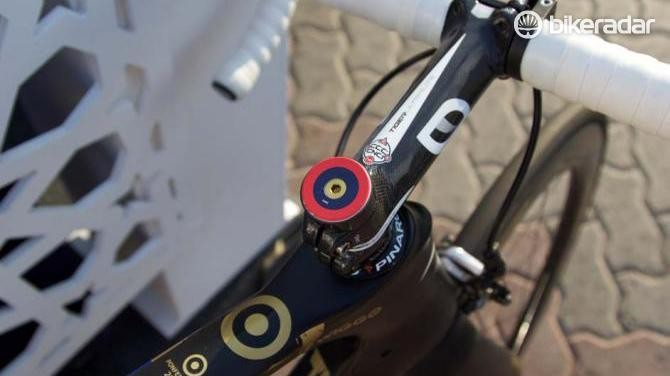 Bradley Wiggins' target logo on the top of the headset