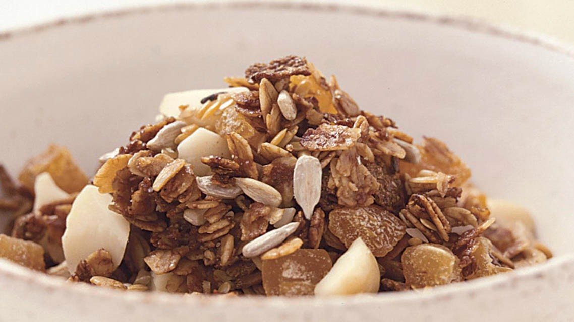 Honey granola is easy to make and creates a great base to which you can add whatever you fancy