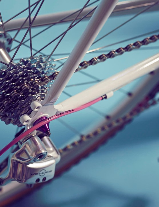 The bike utilises a silver Campagnolo Veloce groupset