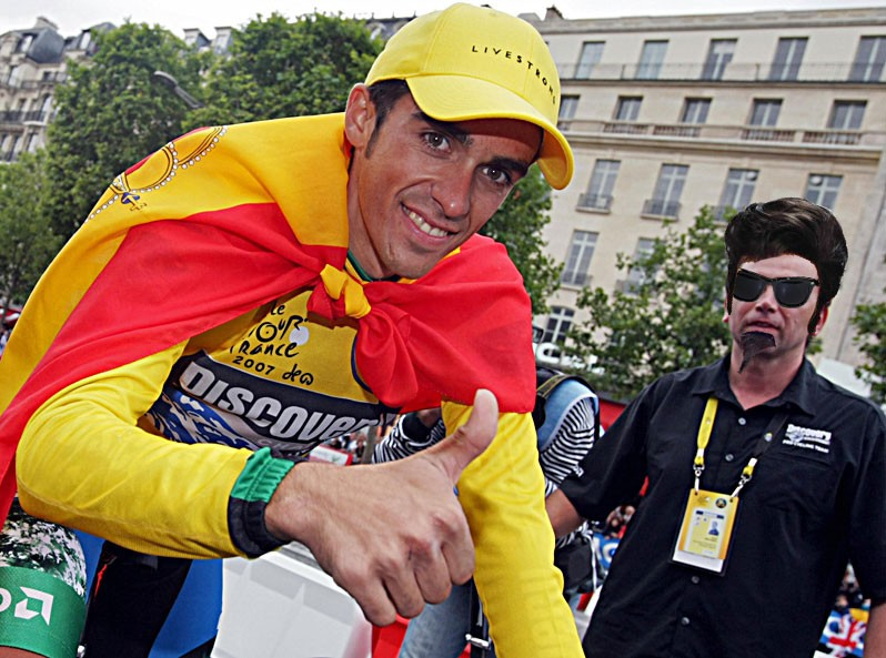 Johan Bruyneel (right) is totally anonymous in this recreation of Alberto Contador's 2007 victory.