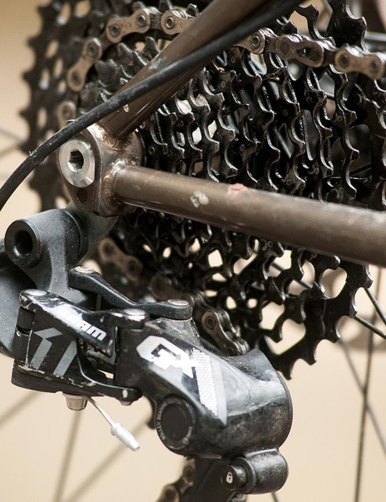 Neat cowled dropouts on our test bike hold a GX groupset