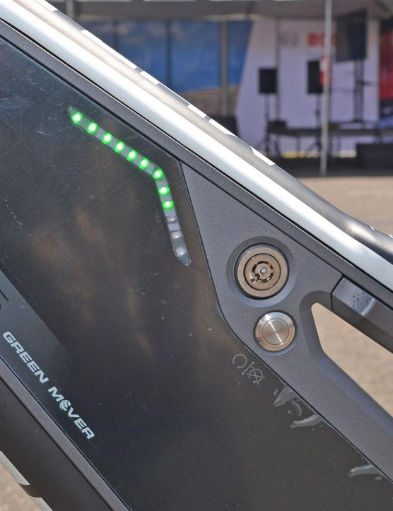 Battery level is on the computer as well as the 48V battery itself