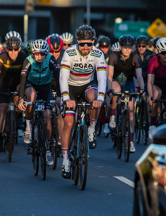 Sagan, Bodnar and Levi Leipheimer led the bunch out at the beginning of the Sagan Fondo