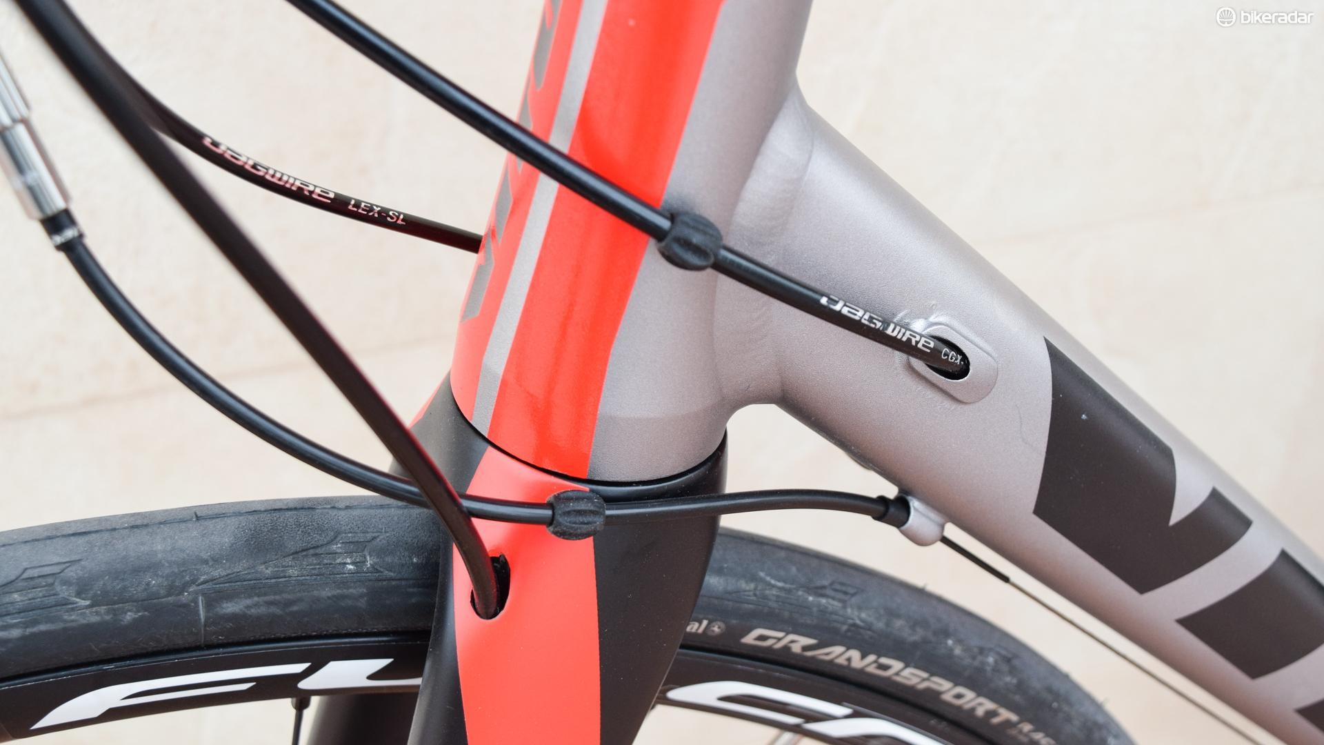 External cables, such as the gear cables here, may not be beautiful, but they are generally trouble free. Could the stops have been better located on this bike though?