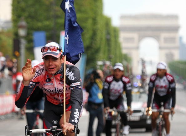 Cadel Evans on the Champs Elysees after the final stage of the 2007 Tour de France