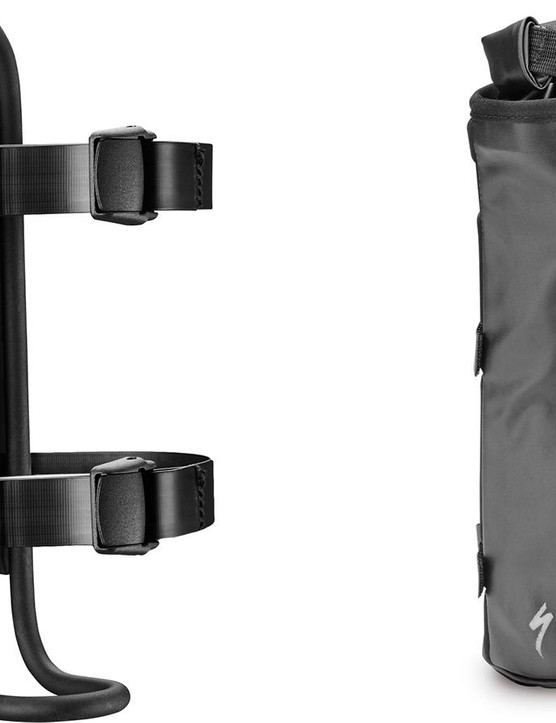 The Cagerack and Cagepack work together to carry items on the fork legs