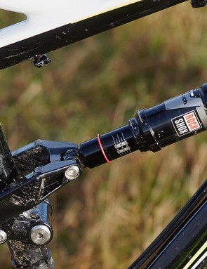 The Monarch rear shock uses a relatively firm compression damping setting to keep suspension bounce to a minimum