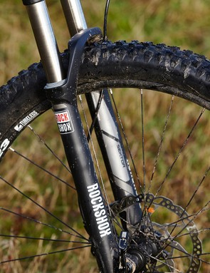 The RockShox Sektor fork's 15mm axle gives accurate wheel placement and line-holding in dicey situations