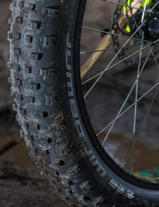 The Schwalbe Jumbo Jim tyres are a spec highlight