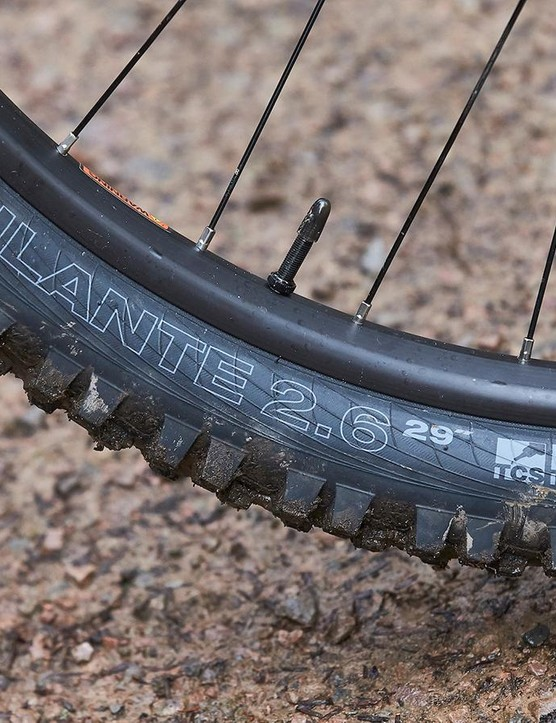 Calibre wants to ensure punters won't need to upgrade to burlier tyres from the get-go, so specs the Tough casing WTB Vigilante (front) and Trail Boss (rear). The meaty 2.6in Vigilante offers a decent amount of traction when the conditions become more challenging
