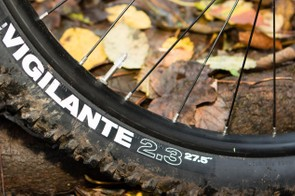The WTB Vigilante tyre has been selected to provide grip at the front and a fast-rolling BeeLine at the rear