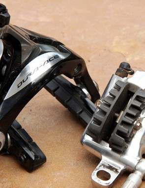 Rim brakes have come a long way and the top models work fantastically well. Still, they're at an inherent disadvantage when compared to a hydraulic disc brake caliper's more compact and stiffer form that's less prone to flex and friction