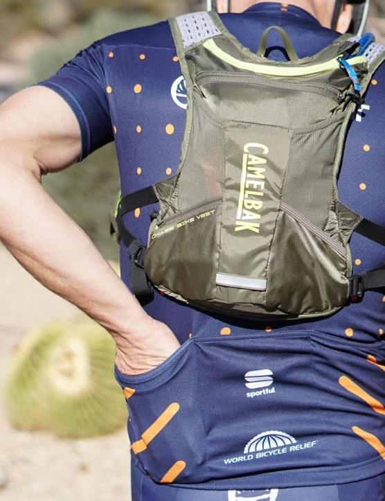 The 4L pack sits high on the back, so you can still reach your jersey pockets