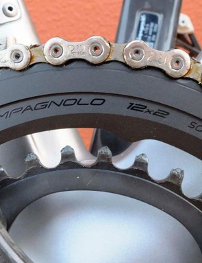 All-new 12-speed chainrings are anodised black
