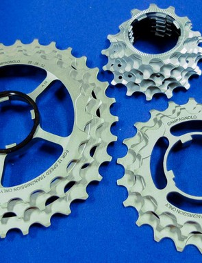 The cassettes have steel sprockets, built in two triplets, plus six individual smaller sprockets